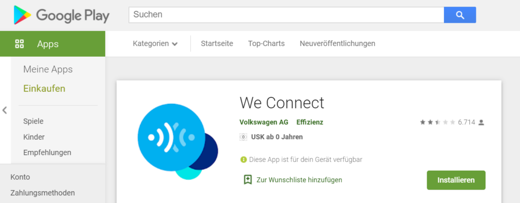 Android Store VW We Connect