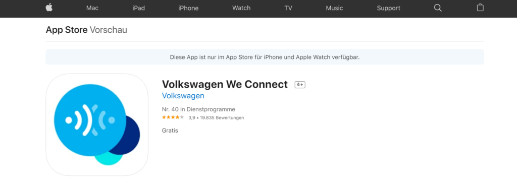 IOS App Store VW We Connect